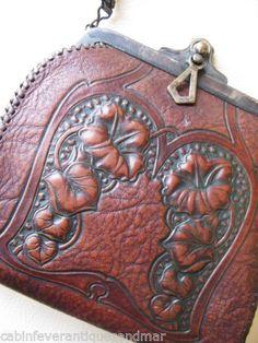 Antique Art Deco Nouveau Morning Glory Floral Tooled Leather Jemco Purse 1921   eBay