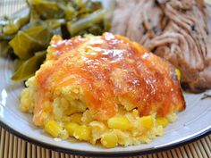 corn & cheddar pudding - tasty thanksgiving side...  I omitted the honey because sweet corn was sweet enough for me.
