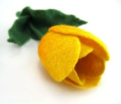 Yellow Tulip felt brooch handcrafted  gift under 35  by Roltinica
