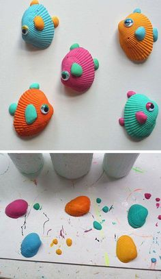 12 bricolages pour les enfants faire avec des coquillages bricolage. Black Bedroom Furniture Sets. Home Design Ideas