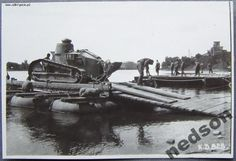 """Tank Renault FT-17"""" for the Polish army during the crossing."""
