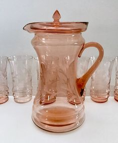 Your place to buy and sell all things handmade Antique Dishes, Vintage Dishes, Antique Glass, Vintage Glassware, Vintage Kitchen, Etched Glass, Glass Etching, Pink Depression Glassware, Glass Pitchers