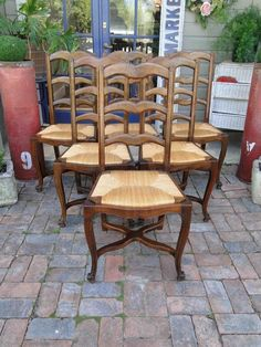 6 Antique French Dining Chairs Curved Ladder Back Rush Seats Cabroile Legs