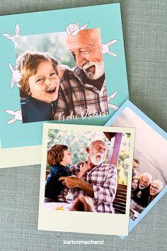 Die schönsten Momente zum Anfassen zu Ostern verschenken! Auch wenn ihr dieses Jahr an Ostern nicht zusammen mit euren Familien feiern könnt, überrascht sie doch mit einer Karte und der Erinnerung an die wunderbaren Momente, die ihr schon zusammen erlebt hat! Sorgt mit der Osterkarte aus tollem Papier und mit kreativen Designs für ein Lächeln bei eurer Familie & Freunde. Gestaltet euer individuelles Wunschdesign mit Osterhasen, Ostereiern und zarten Frühlingsblumen! #kartenmacherei #ostern Designs, Polaroid Film, Paper, Creative Ideas, Creative Design, Easter Bunny, Families, Boyfriends