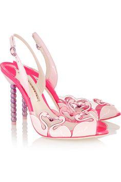 Sophia Webster - Flamingo PVC and patent leather sandals Sophia Webster Shoes, Flamingo Shoes, Flamingo Party, Pink Flamingos, Shoe Boots, Shoes Heels, Pumps, Killer Heels, Designer Shoes