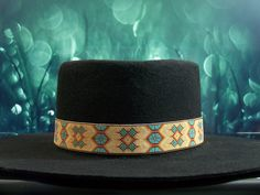 Native American Beaded Tan Morning Star Hat Band