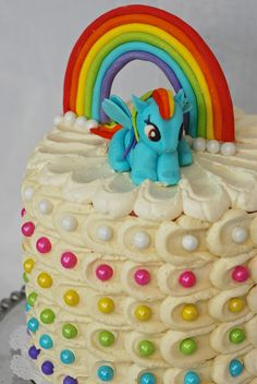 Rainbow Dash My Little Pony Cake. LOVE the dots!!!