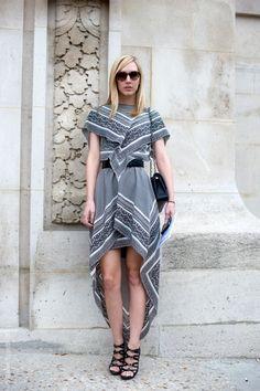 asymmetrical handkerchief dress with grey tones, worn by Jane Keltner De Valle, News Editor for Teen Vogue