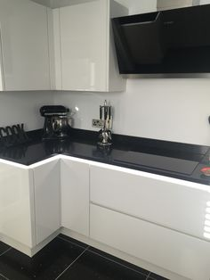 White Gloss Handless Units U0026 Quartz Worktops And Floor