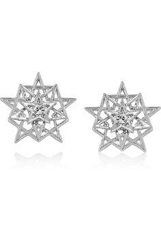 Pentagram silver-plated agate stud earrings by Eddie Borgo