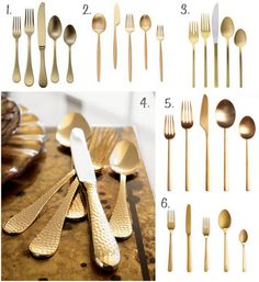 6 Gold Cutlery Options.