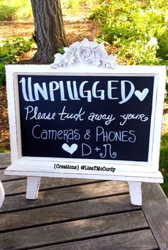 Ceremony Entry Table || Unplugged Wedding Detail #greger2loo #vintage #chalkboard #wedding #ceremonyentrytable #guestbooksign #unpluggedwedding #creations #lisatmccurdy