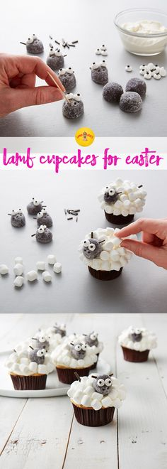 These cute Lamb Cupcakes are perfect recipe for your spring dessert tray. Also cute Easter treat and activity for kids. Spring Desserts, Just Desserts, Holiday Treats, Holiday Recipes, Holiday Foods, Cupcake Recipes, Cupcake Cakes, Cupcake Ideas, Dessert Tray