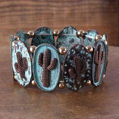 Patina+Cactus+Stretch+Bracelet