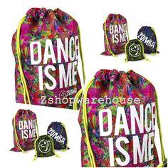 "ZUMBA® ""Dance Is Me"" Travel Drawstring BIG JUMBO SIZE Bag Travel & Gym Bag RARE  #Zumba #ToteBag"