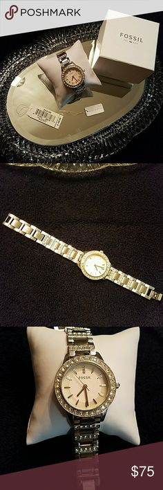 FOSSIL WATCH ITEM# ES2189 Slight scratches on stainless steel, No scratches on crystal face plate, Japan Movement, Light pink iridescent face, All crystals in tact, I wore it loose like a bangle(as see in photos) my wrist is 7 1/2. Battery works. Fossil Jewelry