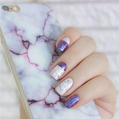 Purple glitter and marble nails inspired by my Amethyst Marble Case from @topfoxx
