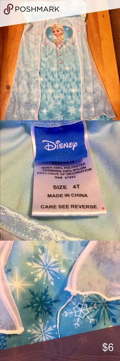 Frozen Elsa Nightgown Well loved.  Some loose threads.  See photos.  Still very cute Disney Pajamas Nightgowns