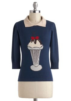 Sundae Dressed Sweater by Sugarhill Boutique - International Designer, Blue, Red, Brown, Tan / Cream, Grey, Kawaii, Long Sleeve, Collared, Novelty Print, Casual, Vintage Inspired, 50s