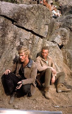 Robert Redford and Paul Newman on the set of Butch Cassidy and the Sundance Kid, 1969, directed by George Roy Hill.