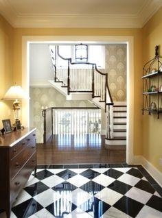 Foyer Entry Design Ideas, Pictures, Remodel and Decor Floor Design, Tile Design, House Design, Foyer Flooring, Granite Flooring, Flooring Ideas, Black And White Tiles, White Marble, Black White