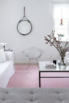 Love love love the pale pink rug, the chair and...ok, everything in this.
