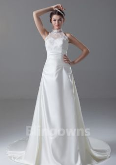 Taffeta Sleeveless Zipper Appliques Beads A-line High-neck White Sweep Wedding Dresses