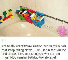 bathtub toy storage using tension rod and buckets