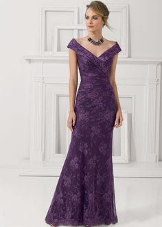 ebb2b80b3b75c Chic Lace Off-the-shoulder Neckline Cape-sleeves Floor-length Sheath Mother  Of The Bride Dress