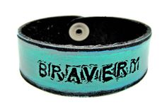 Turquoise/ black wash BRAVERY  Petite Cuff by LeatherCoutureLV, $40.00