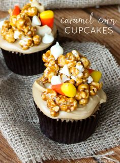 {3 layers of sugary, buttery goodness} Caramel Corn Cupcake | by Lauren Kapeluck | TheCakeBlog.com