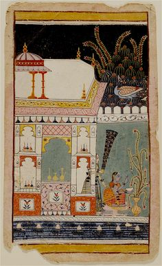 Young Woman in a walled paviilion at Night Plucking Blossoms from a potted plant on her terrace, a lone peacock in a tree. Malwa, India ca.1660