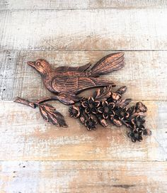Century 3D Plastic Copper Bird Wall Art Hollywood Regency Wall Decor