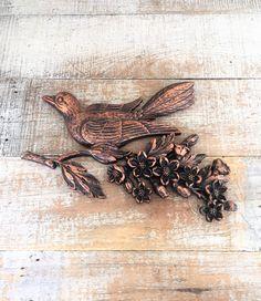 Century 3D Plastic Copper Bird Wall Art Hollywood Regency Wall Decor