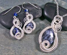 Sodalite & Silver Swish Earring/Necklace by HeatherJordanJewelry