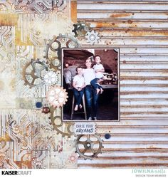 Technique Tuesday - KAISERCRAFT WORKSHOP. Todays technique is by Jowilna Nolte and she shows how to alter patterned paper with stamps. Learn more at kaisercraftblog.com - Wendy Schultz - Kaisercraft Layouts 3.
