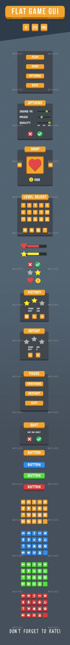 Flat Game GUI - User Interfaces Game Assets