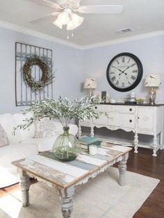 Reclaimed Wooden Table and a White Sideboard for a Shabby Chic Room.