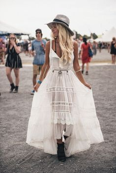 Bohemian Style // White maxi dress, boots and accessories.