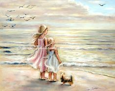 "beach, Girls, sisters, Nursery art print, sea, pastel, Choose size, ""The Ocean's Lullaby"" fine art print Laurie Shanholtzer"