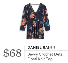 Daniel Rainn Bevvy Crochet Detail Floral Knit Top. I love Stitch Fix! A personalized styling service and it's amazing!! Simply fill out a style profile with sizing and preferences. Then your very own stylist selects 5 pieces to send to you to try out at home. Keep what you love and return what you don't. Only a $20 fee which is also applied to anything you keep. Plus, if you keep all 5 pieces you get 25% off! Free shipping both ways. Schedule your first fix using the link below! #stitchfix…