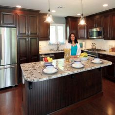 kitchen renovation in kendall park dark cherry cabinets with large island bianco antico granite - Cherry Cabinets