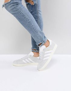 266a0d953bbf6 adidas Originals Gazelle Sneakers In Pale Gray