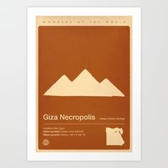 "Minimalist Giza Necropolis poster, from the ""Wonders of the World"" series."