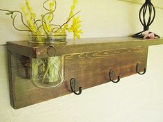 Rustic wood shelf, distressed shabby chic, Brown, cottage beach home decor,wall shelves. $42.00, via Etsy.