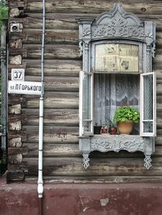 """In Tomsk Siberia you find wooden houses, like those out of a famous Russian fairytale with windows bordered with elaborately carved wooden """"lace"""". Gazebos, Window View, Window Detail, Through The Window, Old Doors, Window Boxes, Doorway, Windows And Doors, Arch Windows"""