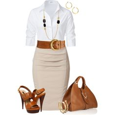Love the wide belt with crisp white shirt and pencil skirt, although it needs a turquoise necklace or other splash of color :-)