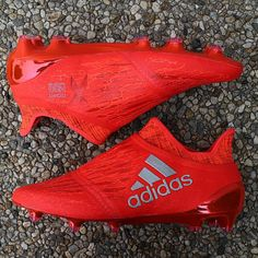 The red Adidas X PureChaos Boot features a ultra-stylish design.