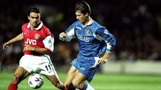 Marc Overmars of Arsenal and Brian Laudrup of Chelsea.