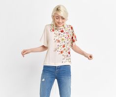 Oasis, FLORAL TIE DETAIL TOP Off White